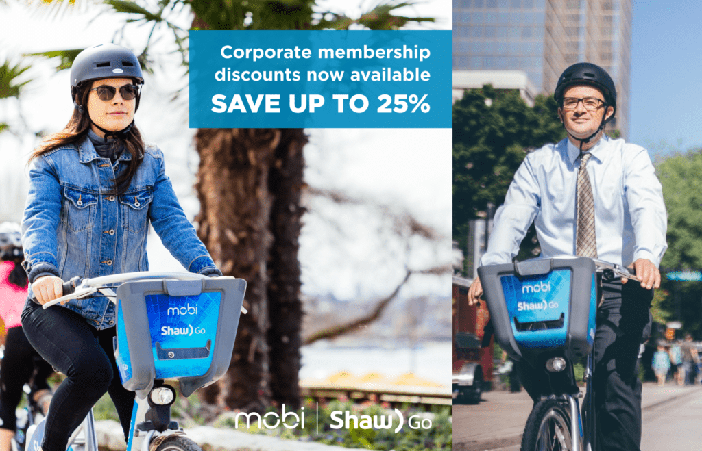Mobi Bike Share is available to office employees in Vancouver as part of an employee wellness package.