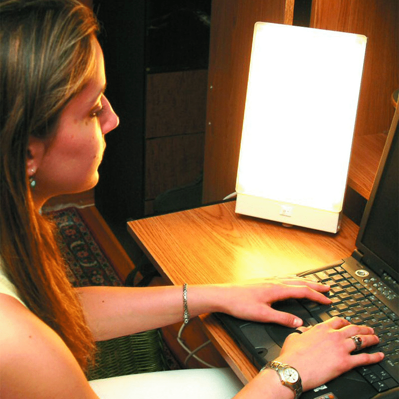 A light box for your desk help with seasonal affective disorder.